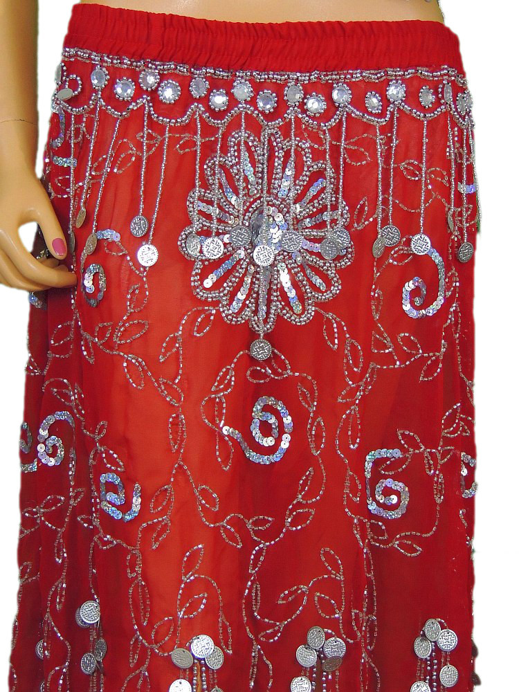 6c90f8b08c5d Red Belly Dance Attire Fancy Costume Top Beaded Bra Coin Long Skirt Clothing  S; Image 2; Image 3 ...