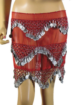 Red Coin Wrap Hip Scarf Belly Dance Dancing Costume