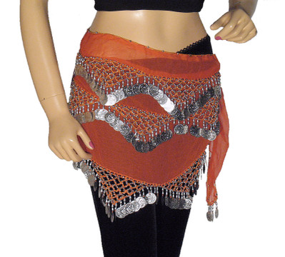 Orange Hip Wrap Belly Dancing Dance Dress Outfit