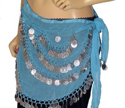 Blue Wrap Hip Scarf Belly Dance Costume Belt Coin