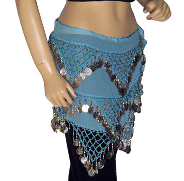 Blue Fringe Tribal Triangle Hip Scarf Belly dance Wear