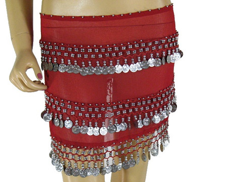 Red Wrap Hip Scarf Belly Dance Costume Coin Belt