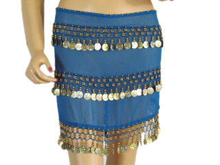 Blue Wrap Belly Dance Hip Scarf Costume Belt Coin