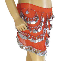 Orange Coin Fringe Hip Scarf Belly Dance Wear Costume