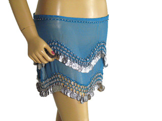 Blue Wrap Hip Scarf Belly Dance Costume Coin Belt