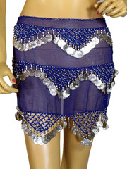 Royal Blue Coin Scarf Wrap Belly Dancer Costume Belt