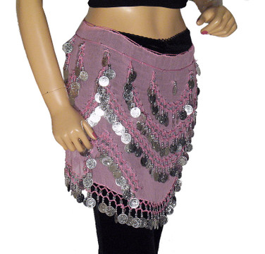 Pink Hip Scarf Belly Dance Dancer Velvet Wavy Coin Wrap