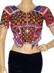 Belly Dance Blouse Top Choli Authentic Kutch Mirror Work Tribal Gypsy Size S