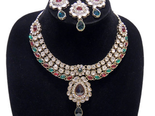 Multicolor Fashion Necklace Set Fancy Handmade Kundan Designer Costume Jewelry