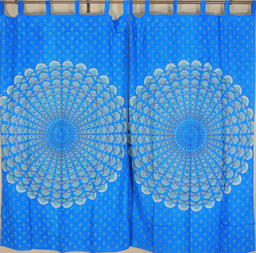 Peacock Tail Fan Print India Inspired Decor Curtains Cotton Window Treatments