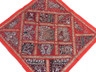 Red Euro Sham Cover Patchwork Tapestry Kundan Beads Beautiful 26in Floor Cushion