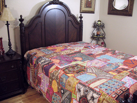 India Inspired Decor Bedding Vintage Khambadia Tapestry Bedding Luxury Bedspread