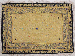 Jewel Carpet Wall Decoration – Kashmir Gold Zardozi and Semi Precious Stone Work