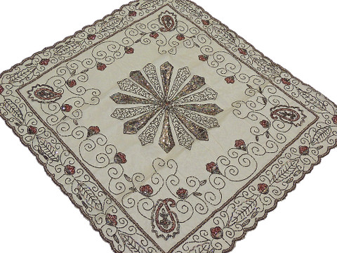 Banquet Table Overlay – Indian Beige Organza Topper with Floral Gold Bead Work