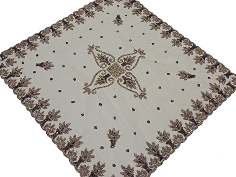 Wedding Table Linens – Beige Net Fabric Hand Beaded Exclusive Tablecloth - India