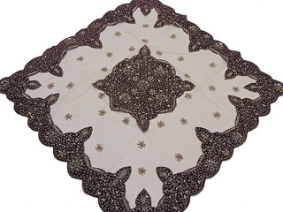 Elegant Table Linens – Tan Net Fabric Gold Beaded Fancy India Tablecloth Overlay