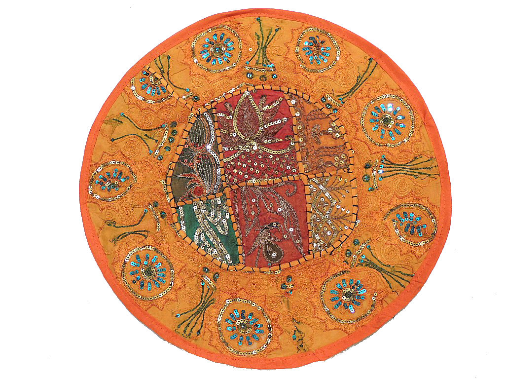 Round Orange Chair Cushion Indian Inspired 16 Inch Pillowcase
