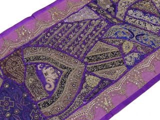 Indian Sari Patchwork Wall Hanging - Purple Beaded Tapestry