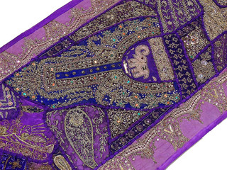 Purple Indian Wall Hanging - Exclusive Beaded Embroidered Tapestry