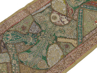 Embroidered Wall Hanging - Finely Crafted Khaki and Green Tapestry