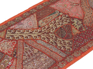 Vintage Sari Tapestry Textile - Russet Embroidered Beaded Wall Hanging