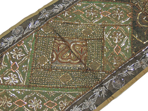 Indian Sequin Wall Hanging - Khaki and Green Embroidered Tapestry
