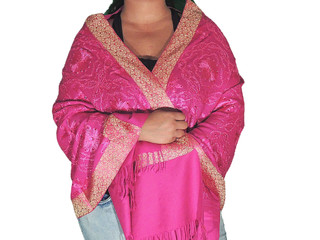 Kashmiri Stole - Hot Magenta Embroidered Women Dress Wrap