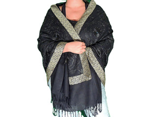 Fashion Shawl - Black Embroidered Zari Border Indian Dress Wrap