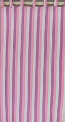 Pink Striped Cotton Curtain - Indian Handloomed Fabric Panel 105 inch
