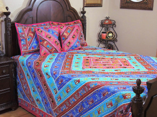 5p Indian Trendy Aari Decorative Bedspread Duvet Pillow