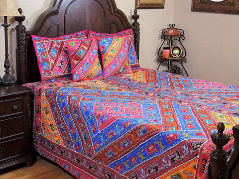 5p Aari India Style Traditional Bedspread Coverlet Set