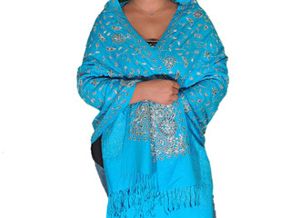 Zari Shawls - Turquoise Embroidered Wool Stylish Fashion Stole