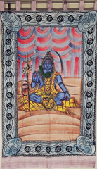 Lord Shiva Wall Hanging - Multicolor Indian Textile Tapestry