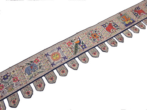 Ethnic Window Valance - Embroidered Kutch Door Hanging Handicraft 172 inch