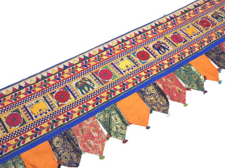 Extra Long Window Valance - 204 inch Hand Embroidered Toran Decor