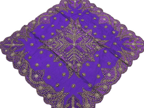 Purple Tablecloth – Decorative Designer Gold Beaded Table Overlay - India