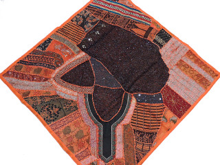 Sari Wall Hanging - Orange Beaded Indian Patchwork Unique Tapestry