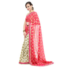 Fashion Sarees - Hot Pink Crepe Silk Designer Cocktail Women Dress