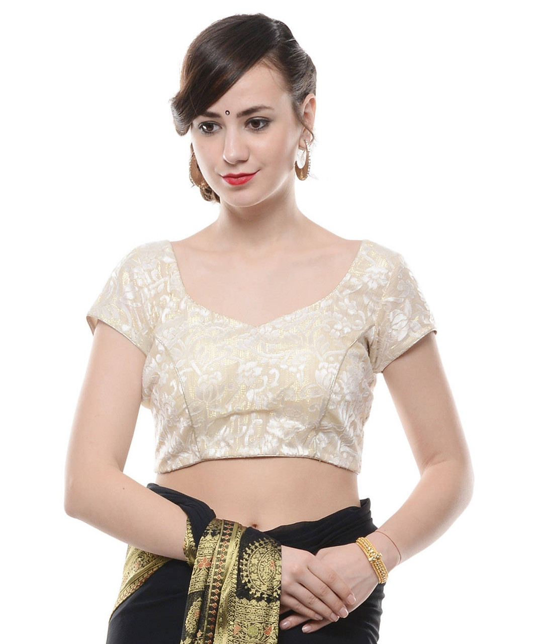 fa3c2cd2a7911d Fashion Blouses - Ivory and Gold Brocade Padded Saree Choli Top for Women  38