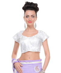 Fashionable White Blouses - Ladies Brocade Padded Designer Saree Top 38""