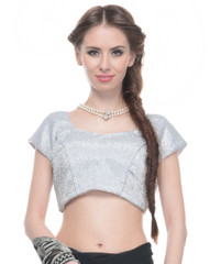 """Trendy Blouse - Shimmering Silver Lurex Fabric Ladies Fashion Padded Top 36"""""""