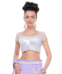 """Sequin Blouse - Silver Shimmering Dressy Top Padded Fashion Choli 36"""""""