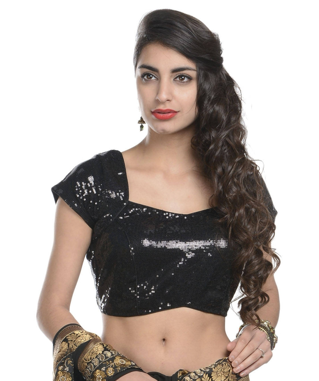 ba5484b807bd77 Ready to Wear Saree Blouse - Black Sequin Latest Designer Dress Top ...