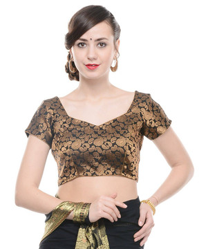 "Bollywood Blouse - Black Paisley Gold Brocade Designer Saree Choli Top 38"""
