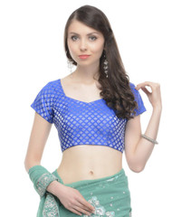 Blue Saree Blouse - Silver Brocade Weave Beautiful Indian Choli Top 36""