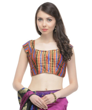 Bohemian Blouse - Multicolor Gold Brocade Saree Fashion Choli Top 36""