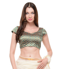 Black And Gold Blouse Brocade Evening Wear Fashion Dress Top Choli