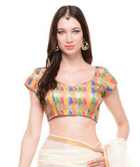 Stylish Evening Blouse - Bohemian Gold Brocade Bollywood Style Top Choli 38""