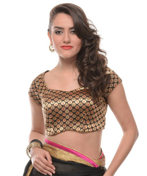 Black and Gold Blouse - Brocade Evening Wear Fashion Dress Top Choli 36""