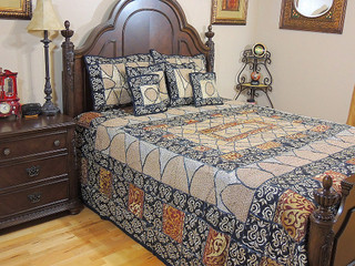 Handmade Bedroom Decor Duvet Zari Embroidery 7P Sari India Bedding Collection